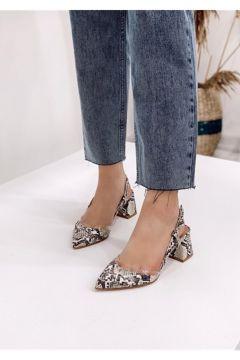 STRASWANS Kadın Bej Yılan Deri Topuklu Ayakkabı(118463505)