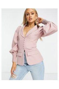 Lavish Alice - Blazer con corsetto a bottoni rosa in coordinato(123406146)