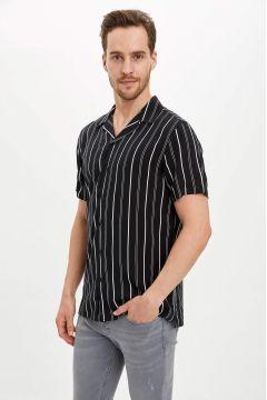 DeFacto Erkek Çizgili Regular Fit Kısa Kollu Gömlek(119063401)