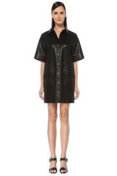 Academia Kadın Siyah Metal Düğmeli Kısa Kol Mini Deri Elbise 34(108378012)