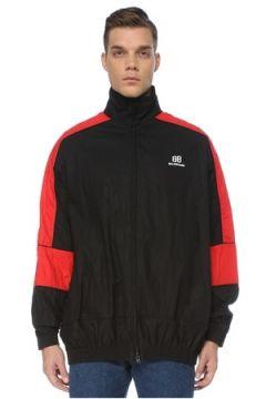 Balenciaga Erkek Large Fit Kırmızı Siyah Dik Yaka Mont 44 IT(122892839)