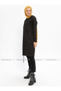 Black - Unlined - Crew neck - Cotton - Trench Coat - Beha Tesettür(110315315)