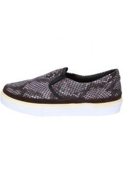 Chaussures 2 Stars slip-on brun foncé textile gris daim ap718(98485769)