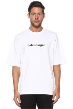Balenciaga Erkek Beyaz Bisiklet Yaka Logolu T-shirt XL EU(119942998)