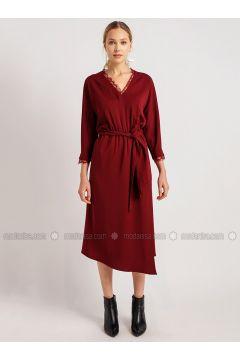Maroon - V neck Collar - Dresses - NG Style(110341236)