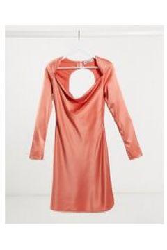 Unique21 - Vestito corto con taglio in sbieco e cut-out sul retro in raso color terracotta-Rosa(120322616)
