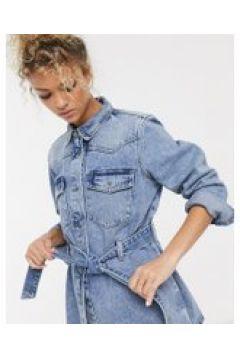 Pieces - Giacca di jeans con nodo sul davanti lavaggio blu acido(120389331)