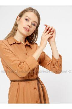 Mustard - Point Collar - Unlined - Dresses - Kaktüs(110319010)