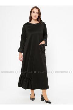 Black - Unlined - Crew neck - Plus Size Dress - CARİNA(110320128)