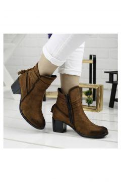 Ayakland Taba 6cm Topuk Kadın Süet Bot Ayakkabı 8422-832(110968616)