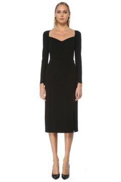 Dolce&Gabbana Kadın Siyah Kalp Yaka Uzun Kol Midi Elbise 42 IT(127752468)