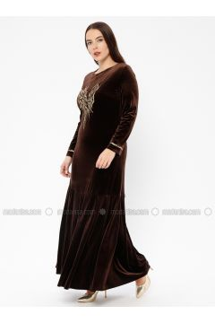 Brown - Unlined - Crew neck - Muslim Plus Size Evening Dress - Le Mirage(110337491)