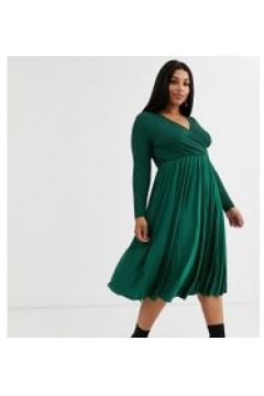River Island Plus - Vestito a portafoglio verde smeraldo(120327980)