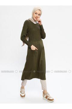 Khaki - Crew neck - Viscose -- Tunic - Seyhan Fashion(110337684)