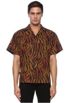 Palm Angels Erkek Kahverengi Siyah Kamp Yaka Zebra Desenli Gömlek 48 IT(120885018)
