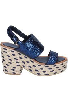 Espadrilles Sara Lopez sandales bleu glitter textile BS147(115443098)