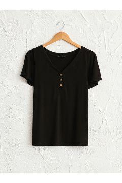 Kadın Düğme Detaylı Tişört(126604090)