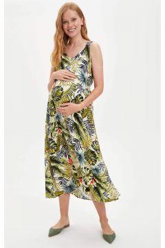 DeFacto Kadın Regular Fit Çiçek Desenli Hamile Elbise(119065241)