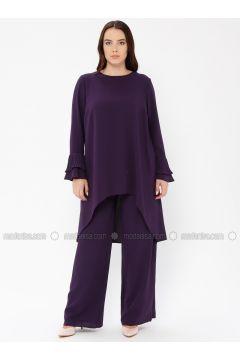 Purple - Unlined - Crew neck - Muslim Plus Size Evening Dress - Sevdem Abiye(110323345)