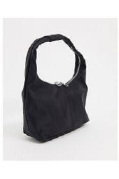 Weekday - Abby - Borsa da spalla in nylon nera-Nero(122319118)