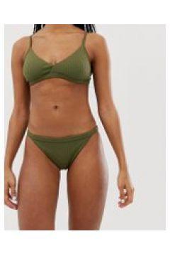 Weekday - Gerippte Bikinihose in Khaki - Grün(95026251)