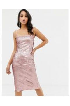 Forever New - Midi-Paillettenkleid in Rosa mit Camisole-Trägern - Rosa(88932426)