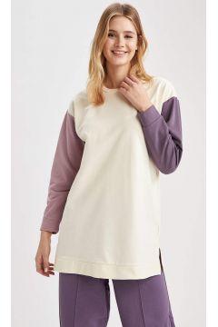 DeFacto Kadın Renk Bloklu Relax Fit Sweat Tunik(125933714)