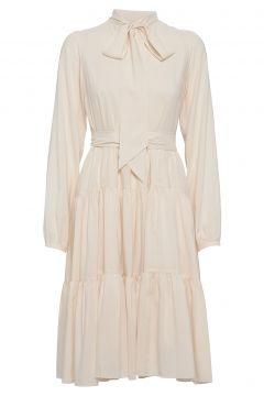Bowtie Peplum Midi Dress W/Long Sleeves Kleid Knielang Creme CATHRINE HAMMEL(100458928)