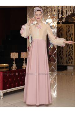 Powder - Fully Lined - Crew neck - Muslim Evening Dress - Selma Sarı Design(110332908)