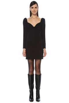 Red Valentino Kadın Siyah Kalp Yaka Uzun Kol Mini Elbise 42 IT(118330381)