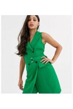 Missguided Tall - Blazer senza maniche verde con cintura in coordinato(120389554)
