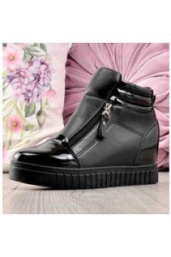 Pantofelek24.pl | Trampki sneakersy na koturnie CZARNE(112083086)