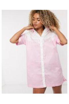 Lazy Oaf - Vestito camicia western con frange e ricamo-Rosa(120334679)