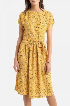 Vestido largo evasé con estampado floral(108523010)