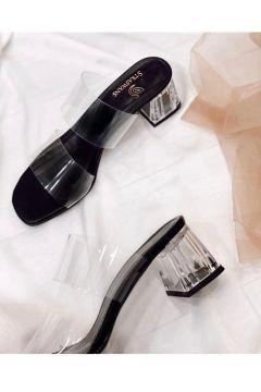 STRASWANS Kadın Siyah Şeffaf Topuklu Sandalet(119983709)