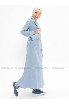 Blue - Crew neck - Unlined - Cotton - Dresses - Beha Tesettür(110328329)