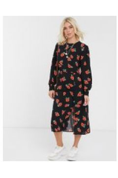 Nobody\'s Child - Vestito al ginocchio con bottoni e stampa a rose-Multicolore(120330303)