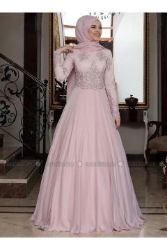 Powder - Fully Lined - Crew neck - Muslim Evening Dress - Al-Marah(110328365)