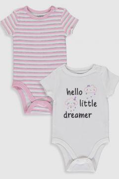 Bebek Kız Bebek Baskılı Çıtçıtlı Body 2\'li(107912684)