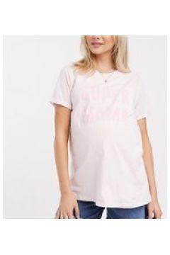 """ASOS DESIGN Maternity - T-shirt per allattamento con scritta \""""mama\"""" rosa(120438789)"""