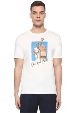 Lardini Erkek Beyaz Figür Baskılı Slogan Detaylı T-shirt S EU(107373328)