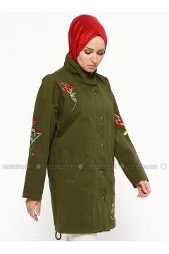 Khaki - Unlined - Polo neck - Trench Coat - SUEM(110315250)