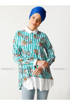 Green - Stripe - Point Collar - Cotton - Tunic - Meryem Acar(110331932)