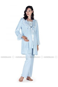 Blue - Crew neck - Pyjama - Artış Collection(110332890)