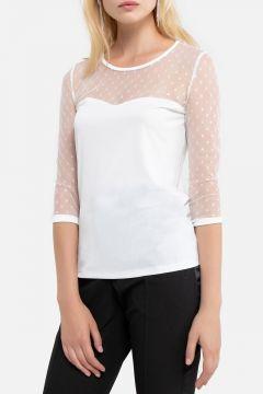 Camiseta de dos materiales, cuello redondo y manga larga(121532225)