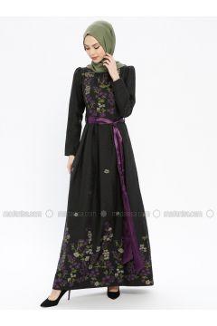 Purple - Multi - Fully Lined - Crew neck - Muslim Evening Dress - MissGlamour(110320674)