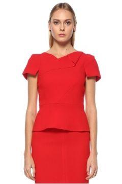 Roland Mouret Kadın Kırmızı Asimetrik Yaka Kısa Kol Yün Bluz 0 US(123840956)