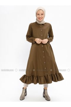 Khaki - Unlined - Point Collar - Trench Coat - Beha Tesettür(110314202)