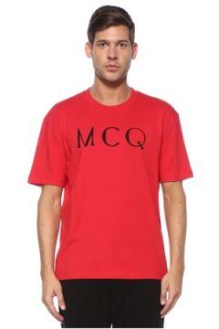 McQ Alexander McQueen Erkek Kırmızı Kontrast Logolu Basic T-shirt XS EU(118478337)