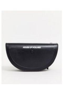 House Of Holland - Borsa a tracolla a mezzaluna in pelle-Nero(123226143)
